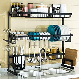 """3 Tier Over Sink Dish Drying Rack, Adjustable(24""""-40"""") Exquisite Dish Drainer for Kitchen Storage Countertop Organization,..."""