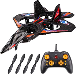 Remote Control Jet RC Airplane Fighter Jet Helicopter Quadcopter with 360°Flip, LED Light Indication, 2.4GHz 6Channel, Gif...