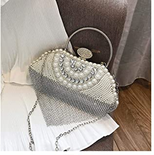 Banquet bag new European and American ladies pearl bag rhinestone personality clutch bag heart-shaped chain bag Messenger bag. jszzz (Color : Silver)