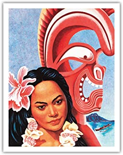 Pacifica Island Art Hawaiian Girl and Feather War God Tiki - American President Lines - Vintage Ocean Liner Menu Cover by Don Clever c.1958 - Fine Art Print - 11in x 14in