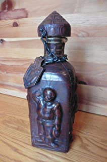 For Vintage Spain JEYPE Embossed Leather Wrapped Decanter Cognac Bottle Don Quijote