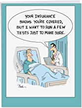 Insurance Tests' Jumbo Get Well Card w/Envelope 8.5 x 11 Inch - Funny Comic, Doctor and Patient Medical Exams Cartoon Design for Personalized Quick Recovery Message and Get Well Greeting J4019GWG