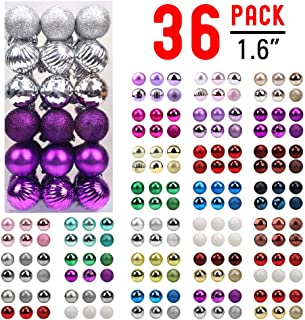 walsport Christmas Balls Ornaments for Xmas Tree - 36ct Plastic Shatterproof Baubles Colored and Glitter Christmas Party Decoration 1.6inch Set (Purple & Silver)