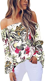 ZANZEA Women's Off Shoulder Blouses Floral Tops T Shirt Bell Sleeve Ruffle Summer Casual Loose Tee