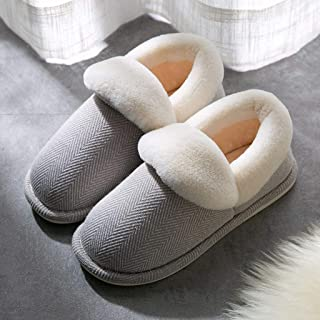 JWWOZ Couple Slippers, Men's Winter Cotton Slippers, All-Inclusive Heel, Foot 360 Degrees to Warm, Non-Slip Indoor Slippers, Outdoor Slippers, Warm and Comfortable (Color : E, Size : 41-42)