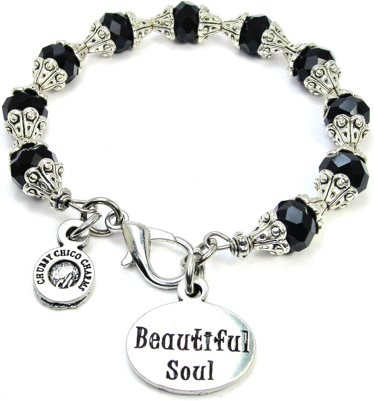 ChubbyChicoCharms Beautiful Soul Beautiful Black Crystal Bracelet with Intricate Bead Caps for Women, Teens, Girls