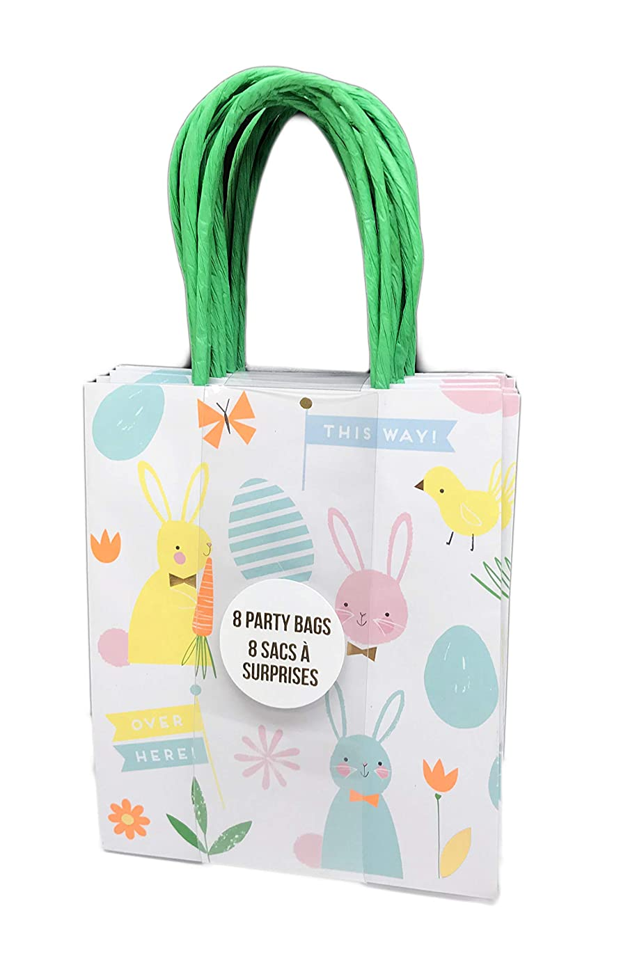 Happy Easter 8 Pack Small Party Favor Easter Egg Hunt Gift Bags (Bunnies & Eggs)