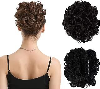 BARSDAR Messy Hair Bun Extension Combs in Easy Stretch Scrunchie Chignon Tray Ponytail Hairpieces for Women/Ladies/Girls (2# Darkest Brown)