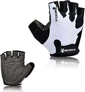 BOODUN Cycling Gloves, Mountain Bike Gloves Bicycle Road Half Finger Anti-Slip Shock-Absorbing Breathable Gel Pad Outdoor Sports Gloves for Men & Women