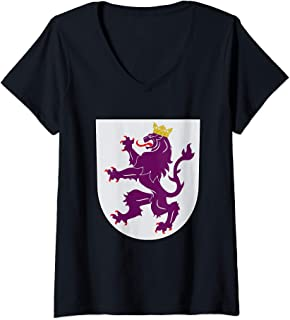 Womens Kingdom of Leon Coat of Arms Crest Spain Portugal History V-Neck T-Shirt