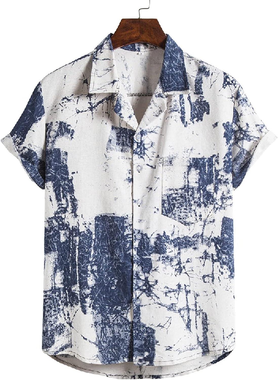 Mens Hawaiian Printed Aloha Shirts Short Sleeve Button Down Casual Holiday Summer Shirt V434