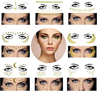 8 Sets Face Tattoo Sticker Metallic Shiny Temporary Water Transfer Tattoo for Professional Make Up Dancer Costume Parties Musical Festivals