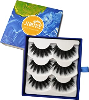 JIMIRE False Eyelashes 3D Fluffy Lashes Natural Full Volume Fake Eyelashes 3 Pairs