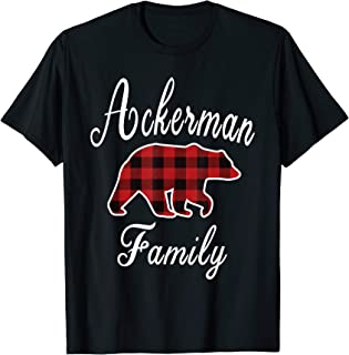ACKERMAN Family Bear Red Plaid Christmas Pajama Gift T-Shirt