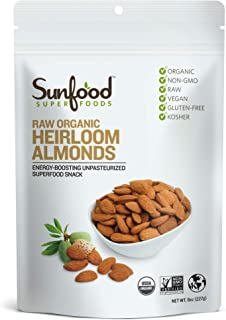 Sunfood Superfoods Heirloom Almonds - Raw, Shelled. Organic, Non-GMO. Never Treated with Heat for a Unique Natural Sweet F...