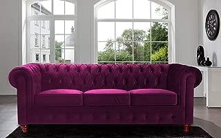 Divano Roma Furniture Velvet Scroll Arm Tufted Button Chesterfield Style Sofa, Purple