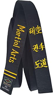 Redox Personalized Customized Embroidery Black Belt Martial Arts, Karate, Taekwondo, Judo, Jiu Jitsu Width 1.6/2.0/2.4 inch and Length 102inch (260cm) ~ 134inch (340cm)