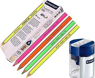 STAEDTLER Textsurfer Dry Highlighter Pencil For Writing Sketching Inkjet Paper Copy Fax Color Mix + Tub 2 Hole Sharpener