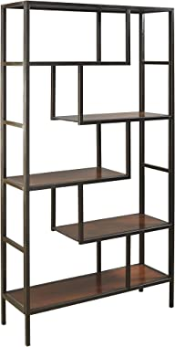Signature Design by Ashley - Frankwell Bookcase - Contemporary - Abstract Geometric Spaced Shelves - Brown/Black