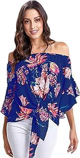 Camiseta Mujer Sexy, Top de Gasa con Hombros Descubiertos y Cuello de Manga Acampanada, Blusas Mujer Verano de Estampado de Flores