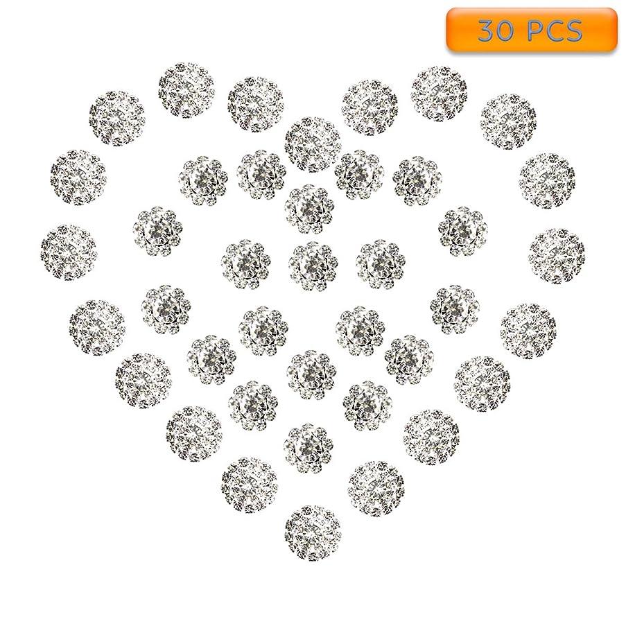 Yun's Rhinestone Embellishments, 30 PCS Clear Glass Rhinestone Flatback Decoration Sewing DIY Craft Embellishments(15mm, 19mm)