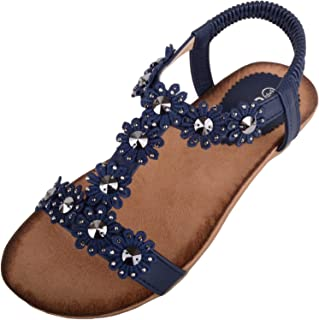 ABSOLUTE FOOTWEAR Womens Summer/Holiday Slip On Sandals/Shoes with Floral Design