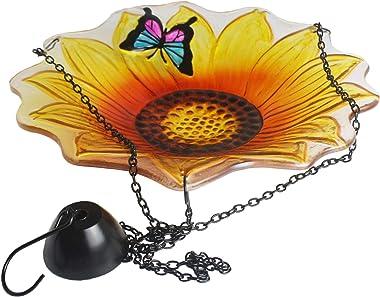 Cyleodo 11 inch Hanging Bird Bath Glass Bird Bath Sunflower Print with Butterfly Outdoor Glass Bowl Feeder for Patio,Garden,Y