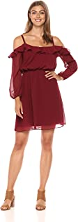 Adrianna Papell Women's Fit and Flare Ruffled Cold Shoulder Blouson Dress