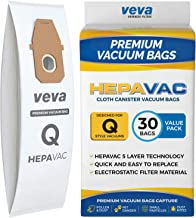 VEVA 30 Pack Premium HEPA Vacuum Bags Style Q Cloth Bag Work with Hoover UH30010COM Lightweight Upright Vacuum Cleaner, Model AH10000, AH10179