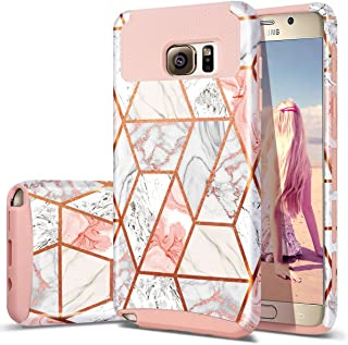 Fingic Note 5 Case, Galaxy Note 5 Case, Rose Gold Marble Design Shiny Glitter Bumper Hybrid Hard PC Soft Rubber Anti-Scratch Shockproof Protective Case Cover for Samsung Galaxy Note 5 2015 Released