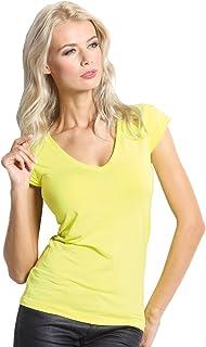 SENSI' T-Shirt Donna Scollo V Manica Corta Morbido Micromodal Traspirante Senza Cuciture Seamless Made in Italy