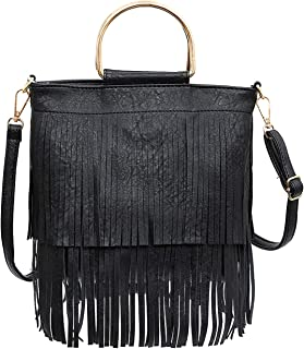 Women PU Leather Fringe Crossbody Bags Fashion Tassel Shoulder Bag Handbag Clutch Purse