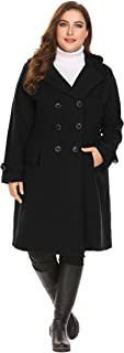IN'VOLAND Women Plus Size Trench Coats Double Breasted Wool Long Lined Lightweight Jackets