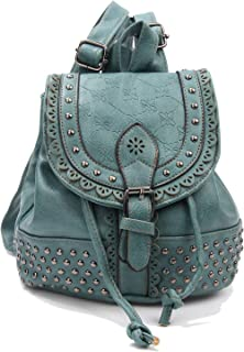Women Backpack - Rivet Knapsack Casual Rucksack for Women Waterproof PU Vintage Ethnic Style Backpack