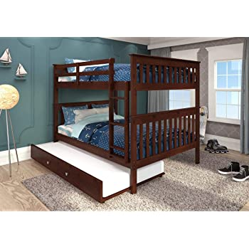 Donco Kids Mission Bunk Bed Dark Cappuccino/Full/Full/W/Twin Trundle Bed