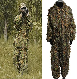 hicollie Outdoor Camo Ghillie Suit 3D Leafy Camouflage Clothing Jungle Woodland Hunting