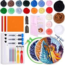Needle Felting Kit,Needle Felting,Felting Kit with 80g Wool Roving Needle Felting, Felt Fabric Sheet, Embroidery Hoop, Felting Needles,Wool Felting Kits for Beginners Painting with Wool