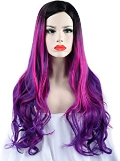 SEIKEA Purple Ombre Wig with Root Long Wavy Curly Hair 30 Inch Cosplay Costume