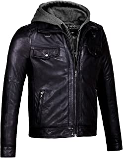 CORBANI Mens Leather Bomber Jacket with Removable Hood – Genuine Leather