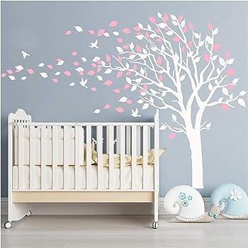 Diy Maison mural Rose arbre d/écor pour chambre denfants Autocollant Fleurs Papillon Decal Sayala Grand arbre stickers muraux