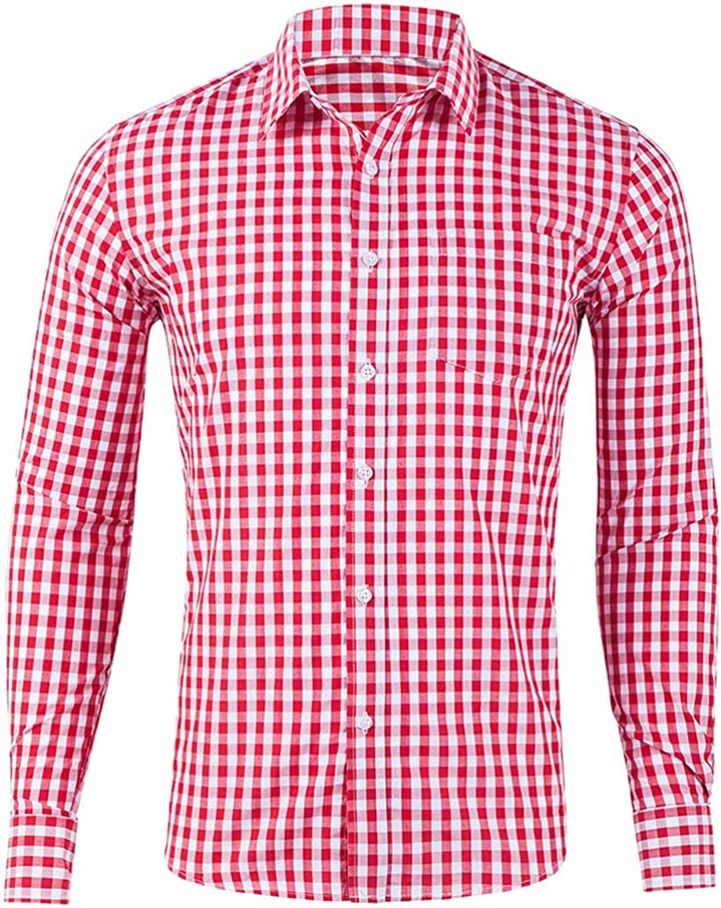 Men's Casual Button Down Shirts Business Dress Shirt Long Sleeve Plaid All Over Tops Multicolor Blouse