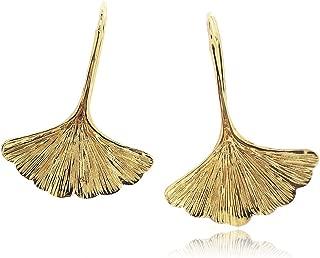 Ginkgo Leaf Earring For Women 925 Sterling Silver 14k Gold Plated - Simple, Stylish Dangle Earring&Trendy Nickel Free Earring