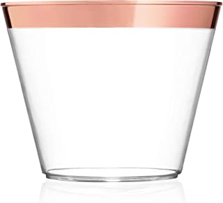 9 oz Rose Gold Plastic Cups – Pack Of 100 Clear Party Tumblers With Elegant Rose Gold Rim – Reusable & Disposable Party Supplies For Wedding, Birthday & Bachelorette Party, Baby Shower or Any Occasion