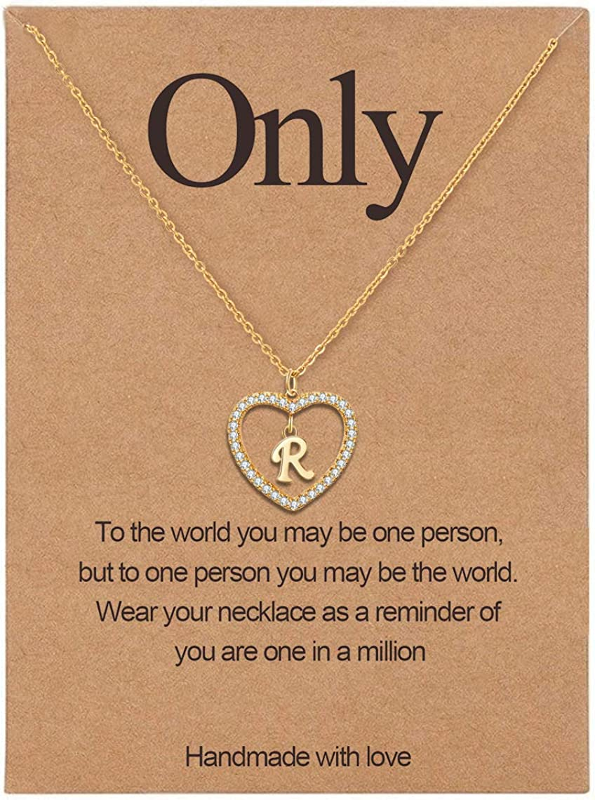 Initial Necklace for Women Letter A to Z Name Alphabet Heart Pendant Necklace for Women 14K Real Gold Plated