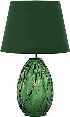 Pauleen 48156 Crystal Velvet Lampe Abat-Jour Velours Luminaire à Poser Max 40W E14 Vert 230V Verre/Tissu