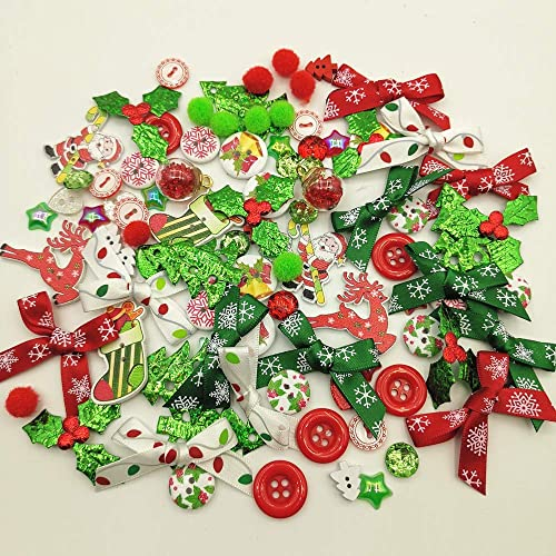 10 CHRISTMAS TURKEY FLATBACK EMBELLISHMENT SCRAPBOOK BOWS 30MM NEW!