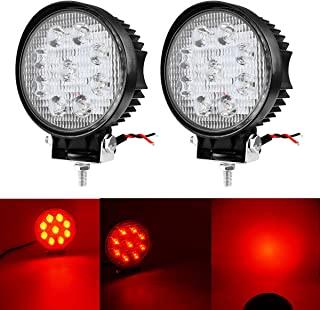 DSS Tuning 2PCS 27W SPOT Red Round Work LED Light Fog Offroad Off Road Lights Driving Lamp Waterproof for Pickup UTV Truck Car Boat SUV Jeep Boat 4WD ATV 12V 24V 4x4 Tractor Motorcycle