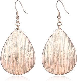 Fishhook Teardrop Earrings with Brushed Finished Dangle Earrings