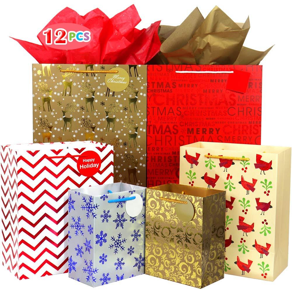 Fzopo Bolsa de regalo de Navidad, surtido, bolsas de papel de regalo resistentes, papel de aluminio