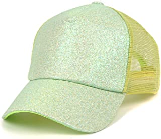 ee98f985 FADA Glitter Ponytail Baseball Cap High Ponytail Hat Women Messy Buns Mesh  Ponycap Dad Hat